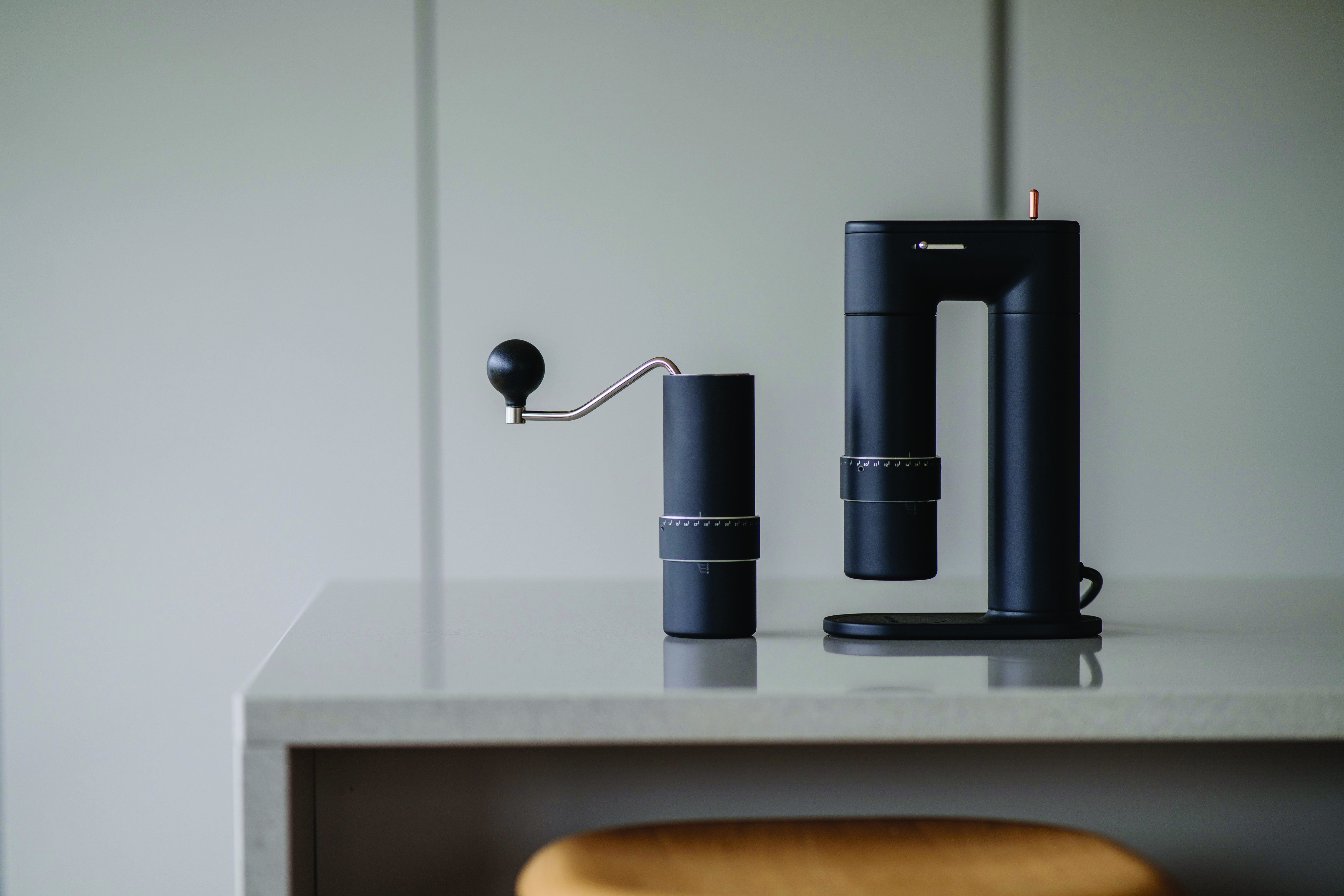 Goat Story's ARCO 2-in-1 coffee grinder on a countertop